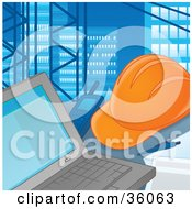 Clipart Illustration Of A Hardhat And Walkie Talkie Beside A Contractors Laptop Computer by Alex Bannykh