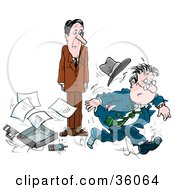 Clipart Illustration Of A Stressed Businessman With A Missing Shoe Dropping His Briefcase And Running From A Colleague