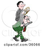 Clipart Illustration Of A Businessman Steering A Wheel On The Shoulders Of A Stressed Man