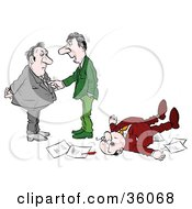 Clipart Illustration Of Two Businessmen Talking Near A Collapsed Man On The Floor