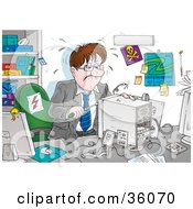 Clipart Illustration Of A Stressed Businessman Trying To Assemble A Computer In His Office