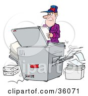 Clipart Illustration Of A Businessman Making Copies At A Copier In An Office by Alex Bannykh