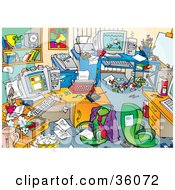 Clipart Illustration Of A Very Messy Office With Clutter On The Desks And Floors
