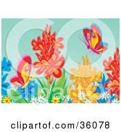 Clipart Illustration Of Colorful Butterflies Exploring In A Flower Garden by Alex Bannykh