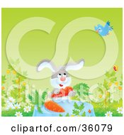 Clipart Illustration Of A Blue Bird Flying Over A Bunny Dining On Carrots On A Spring Day