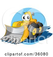 Clipart Illustration Of A Friendly Yellow Bulldozer Character With A Loader Moving Forward