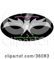 Gray Flying Bat Over A Black Oval With Green And Pink Designs And Colorful Stars
