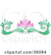 Clipart Illustration Of A Pink Lotus Flowers And Green Leafy Scrolls by bpearth
