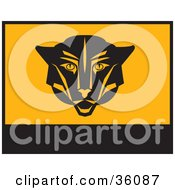 Clipart Illustration Of A Black And Orange Banner Or Flag With A Puma Face by Eugene
