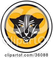 Clipart Illustration Of A Black Cougar Face On A Round Icon by Eugene