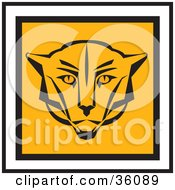 Clipart Illustration Of A Square Cougar Face Icon Trimmed In Black And White Edges by Eugene