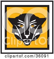 Clipart Illustration Of A Black Cougar Face On A Square Icon Trimmed In Black And White Edges by Eugene
