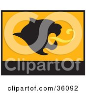 Clipart Illustration Of A Black And Orange Banner Or Flag With A Mountain Lion Face by Eugene #COLLC36092-0054