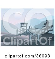 Clipart Illustration Of An Asian Footbridge Spanning Through Hills With A Full Moon Over Mountains by Eugene #COLLC36093-0054