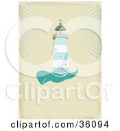 Clipart Illustration Of A Green And White Lighthouse Casting Light Over The Sea On An Aged Beige Background With Space For Text