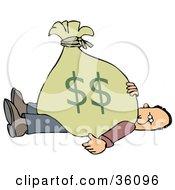 Man Stuck Under A Heavy Bag Of Money