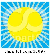 Clipart Illustration Of A Summer Sun Shining And Casting Light In A Blue Sky by Maria Bell