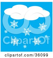Clipart Illustration Of Snowflakes Below A Cloud
