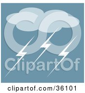 Clipart Illustration Of A Storm Cloud And Lightning Bolts