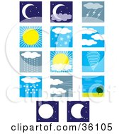 Clipart Illustration Of A Set Of Weather Condition Scenes by Maria Bell