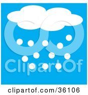Clipart Illustration Of Hail Or Snow Flowing From A Cloud by Maria Bell
