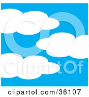 Clipart Illustration Of Three Puffy Clouds In A Blue Sky by Maria Bell