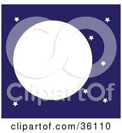 Clipart Illustration Of A Full Moon In A Blue Starry Night Sky