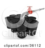 Clipart Illustration Of A Pipe Pouring Oil Into Black Barrels