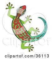 Clipart Illustration Of A Gradient Green And Blue Gecko With Red Markings by Frog974 #COLLC36113-0066