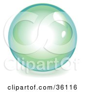 Clipart Illustration Of A Green And Blue Reflective Crystal Ball Marble Or Orb