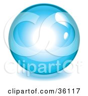Clipart Illustration Of A Shiny Blue Reflective Crystal Ball Marble Or Orb by Frog974 #COLLC36117-0066