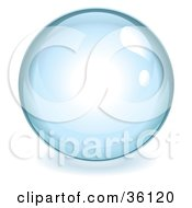 Clipart Illustration Of A Pale Blue Reflective Crystal Ball Marble Or Orb by Frog974 #COLLC36120-0066
