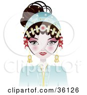 Clipart Illustration Of A Beautiful Opera Chinese Woman In A Blue Costume With Her Hair Up And Adorned In Jewelry