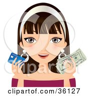 Clipart Illustration Of A Brunette Caucasian Woman Holding A Credit Card In One Hand And Cash In The Other by Melisende Vector