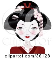 Clipart Illustration Of A Beautiful Asian Geisha Woman Wither Her Hair Up Wearing A Red Kimono by Melisende Vector