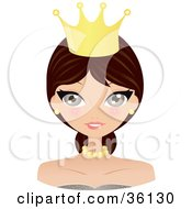 Clipart Illustration Of A Pretty Brunette Caucasian Queen Or Princess Wearing A Crown And Jewelry