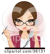 Pretty Brunette Secretary Assistant Or Receptionist Holding A Phone And A Pen While Taking A Call In An Office