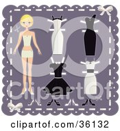 Blond Teenage Girl Paper Doll On A Purple Background With Cutout Dresses And Shoes
