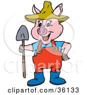 Clipart Illustration Of A Pink Farmer Pig In A Hat Standing With A Shovel