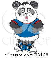 Friendly Male Panda Dressed In Blue