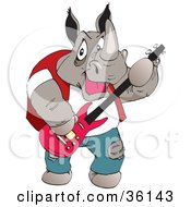 Clipart Illustration Of A Casual Musician Rhino Playing A Pink Guitar by Dennis Holmes Designs