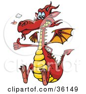 Clipart Illustration Of A Red Dragon Snorting Flames Grinning And Gesturing The Thumbs Up by Dennis Holmes Designs