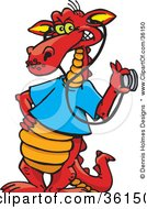 Clipart Illustration Of A Red Doctor Dragon In A Blue Shirt Holding A Stethoscope To An Invisible Item by Dennis Holmes Designs