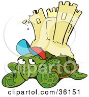 Clipart Illustration Of A Relaxed Sea Turtle Resting On A Beach A Sand Castle On His Back by Dennis Holmes Designs