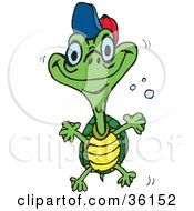 Clipart Illustration Of A Happy Teen Turtle With A Hat On Swimming Through Bubbles