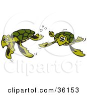 Two Happy Green Sea Turtles Swimming Underwater