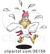 Clipart Illustration Of A Happy White Rooster Running Forward Feathers Falling Behind
