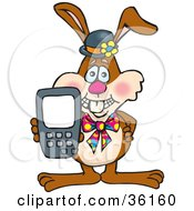 Clipart Illustration Of A Bunny Rabbit Holding Up A Calculator Or Cell Phone With A Blank Screen Ready For Your Text by Dennis Holmes Designs