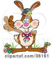 Clipart Illustration Of A Bunny Rabbit Standing In Flowers And Carrots Gesturing A Peace Sign by Dennis Holmes Designs