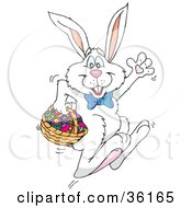 Clipart Illustration Of A Waving White Rabbit Hopping Past With Easter Eggs In A Basket by Dennis Holmes Designs